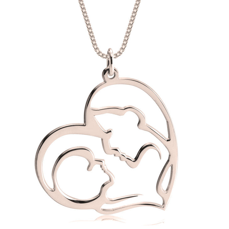 Mother Kid Heart Shaped Necklace
