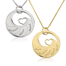 Load image into Gallery viewer, Mother's Heart Necklace With Engraved Names