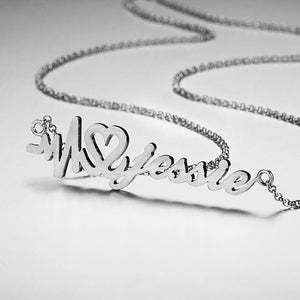 Heart Beat with Heart Name Necklace