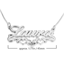 Load image into Gallery viewer, Name Necklace with Underlined Hearts