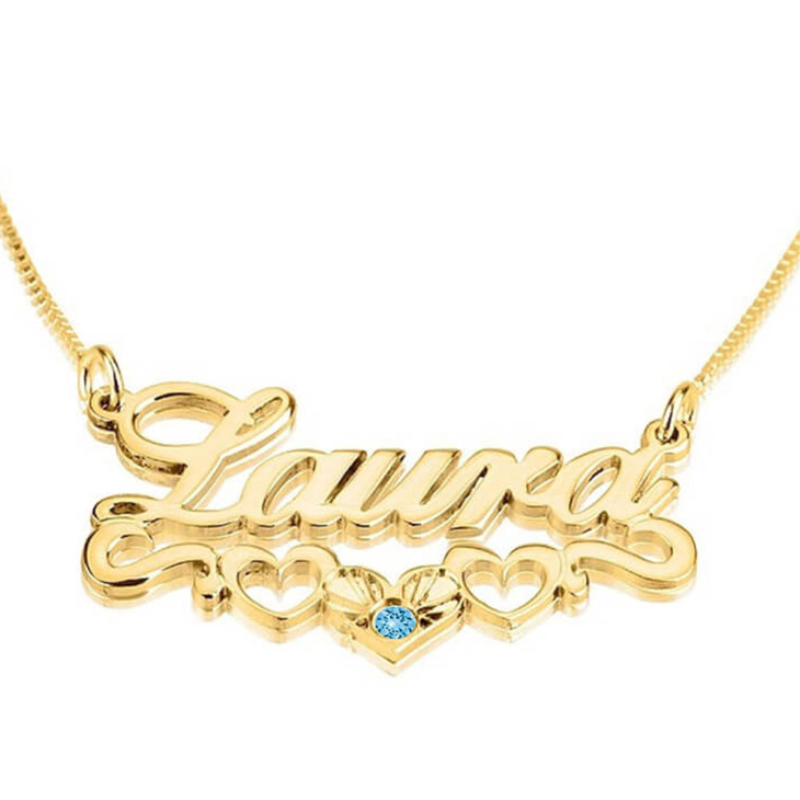 Name Necklace with Underlined Hearts