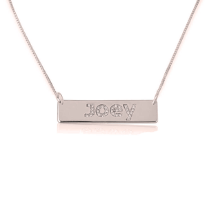 Name Bar Necklace with Cubic Zirconia