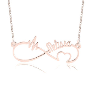 Personalized Infinity Heartbeat Necklace