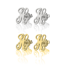 Load image into Gallery viewer, Script Letter Earrings