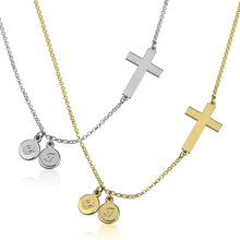 Load image into Gallery viewer, Sideways Cross Initial Necklace