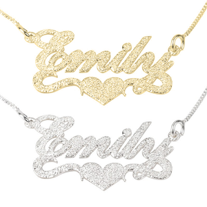 Sparkle Name Necklace with Heart