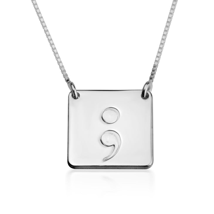 Square Semi Colon Necklace