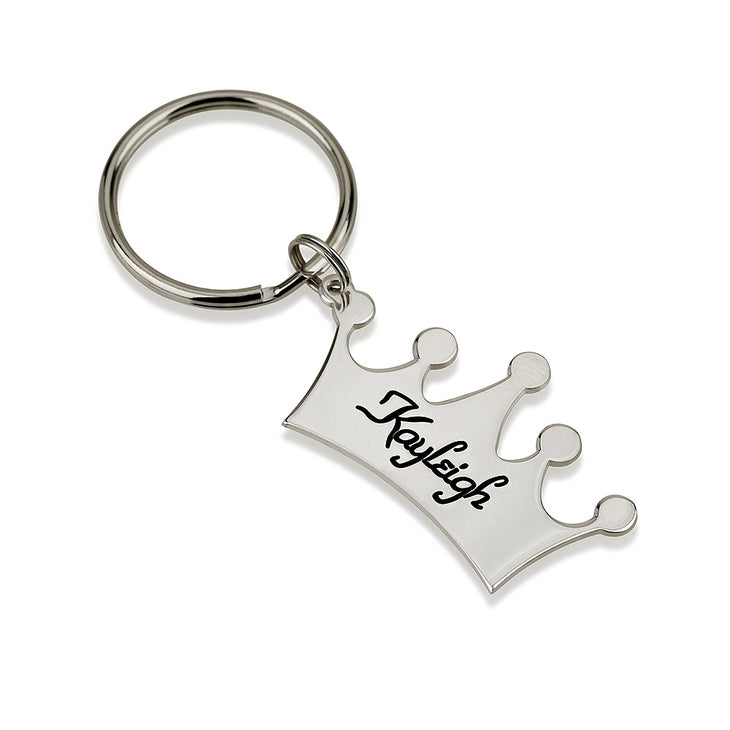 Sterling Silver Engraved Crown Name Key Chain