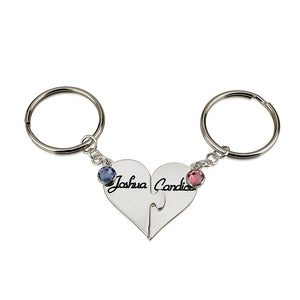 Sterling Silver Heart Birthstone Key Chain Set