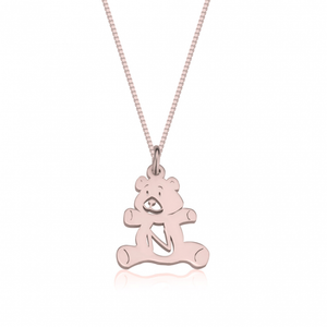 Teddy Bear Initial Necklace