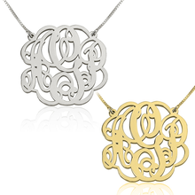 Load image into Gallery viewer, Twisted Split Chain Monogram Necklace