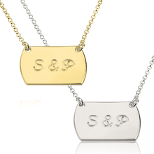 Load image into Gallery viewer, Two Initial Horizaontal Dog Tag Style Necklace