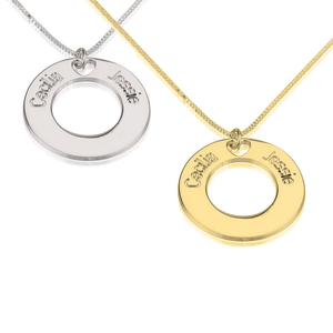 Two Names Circle Necklace