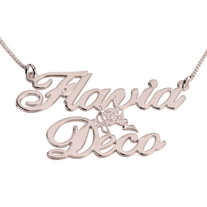 Two Names with  Cupid Name Necklace
