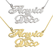 Load image into Gallery viewer, Two Names with  Cupid Name Necklace