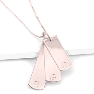 Vertical Bar Necklace with Initial
