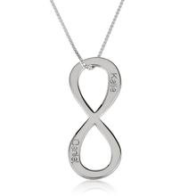 Load image into Gallery viewer, Vertical Two Names Infinity Necklace
