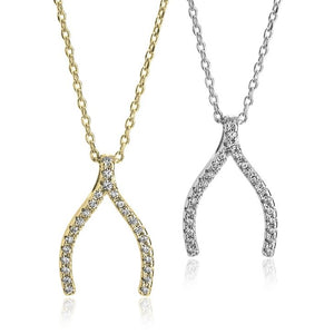 Wishbone Necklace With Cubic Zirconia