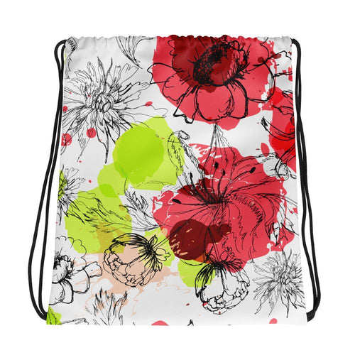 Drawstring Bag - Allover Floral Print Drawstring Bag
