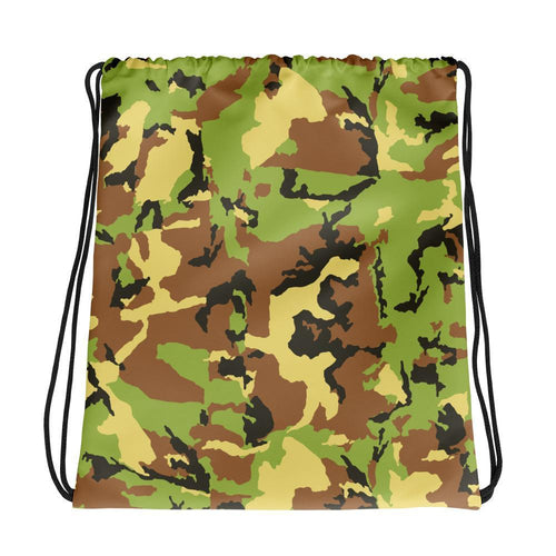 Drawstring Bag - Allover Green Camouflage Drawstring Bag