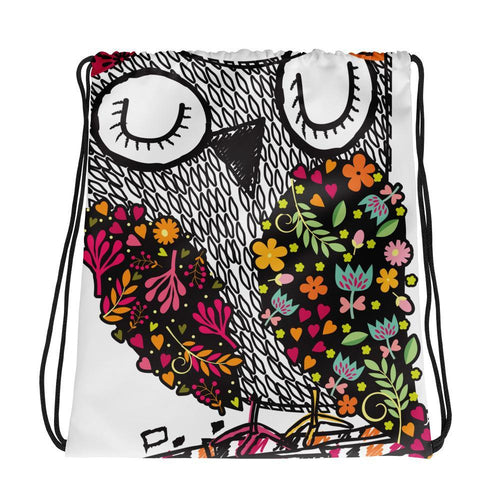 Drawstring Bag - Allover Owl Print Drawstring Bag