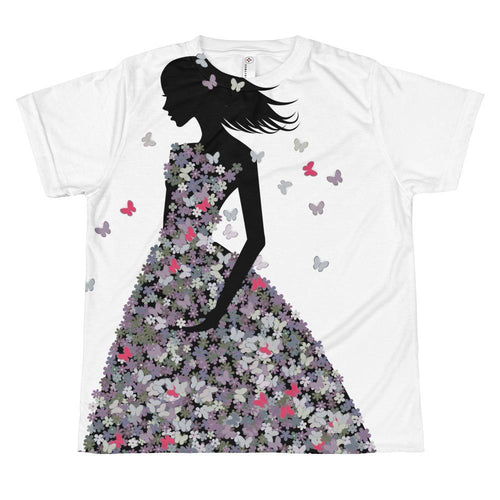 Girl In Grey & Mauve Blooms & Butterflies Dress T-shirt