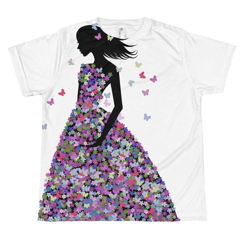 Girl In Lilac Blooms & Butterflies Dress T-shirt