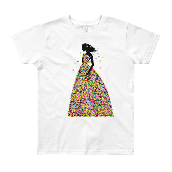 Girl In Pink Blooms & Butterflies Dress T-shirt