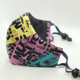 MASK - Unisex Face Masks -  Purple & Yellow Text Print