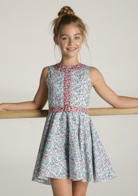 Short Sleeved Floral Shift Dress with Asymmetric Gathering
