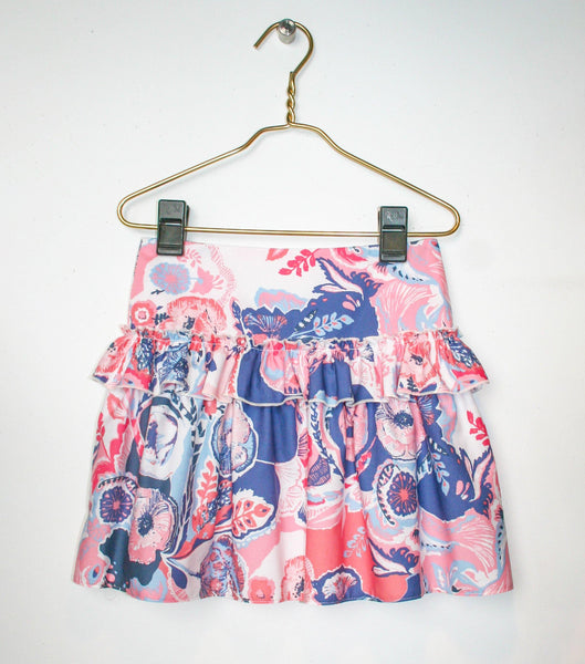 Skirt - Floral Tiered Gathered Skirt