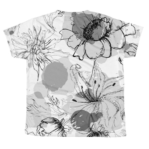 T-shirt - Allover Floral Print T-shirt - B&W