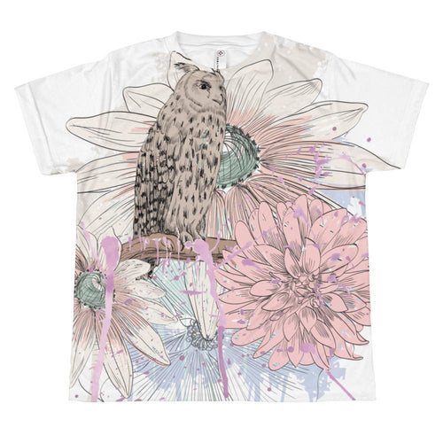 T-shirt - Owl Perched In Pastel Blooms T-shirt