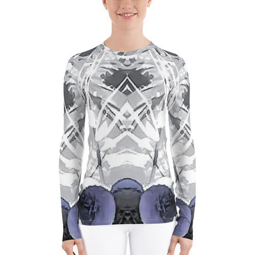 Womens Top - Women's Allover Abstract Print Rash Guard