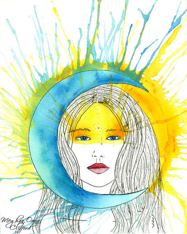 meghan oona clifford, megan oona art, watercolor lady, muses, eclipse art, conrad roset