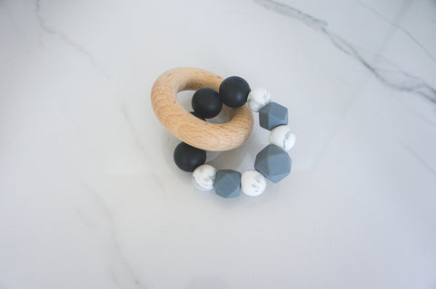 Black and Charcoal Beech Wood Rattle
