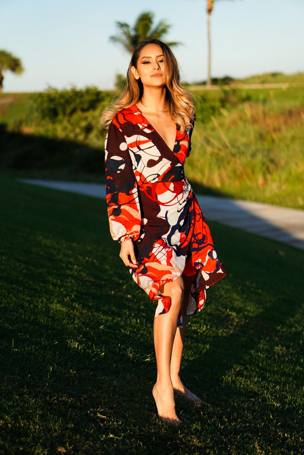 Catch V-neck Midi Dress