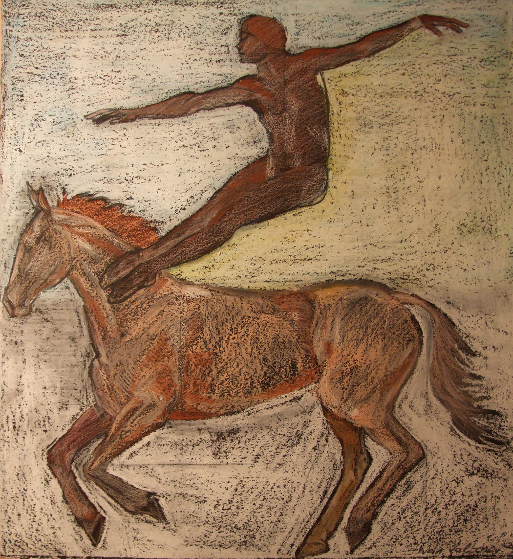 Dancer leaping from a horse