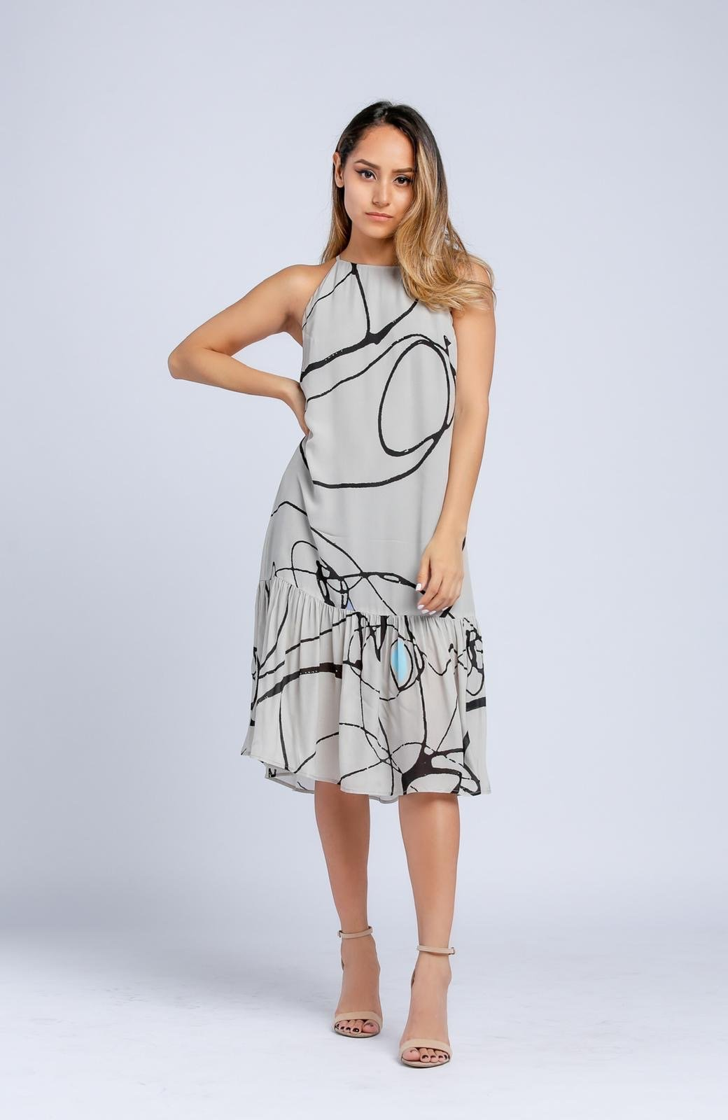 Mirror Sleeveless Midi Dress