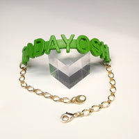 Bracelet - TADAYOSHI (green, gold chain)