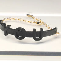 Bracelet - YOU (black, gold chain)