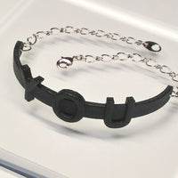 Bracelet - YOU (black, silver chain)