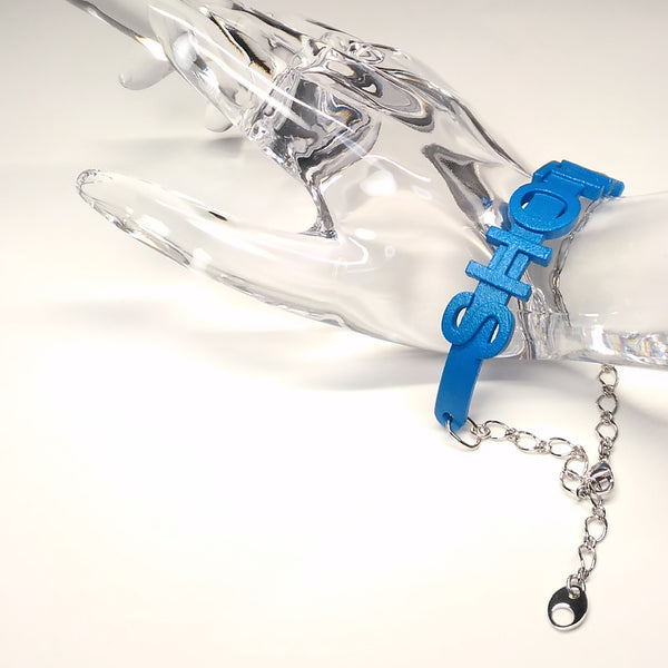 Bracelet - SHOTA (blue, silver chain)