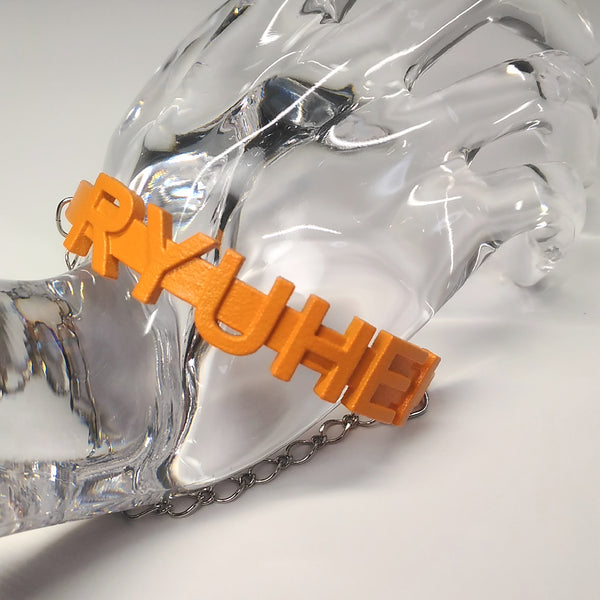 Bracelet - RYUHEI (orange, silver chain)