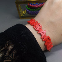 Bracelet - SUBARU (red, gold chain)