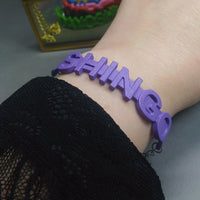 Bracelet - SHINGO (purple, silver chain)