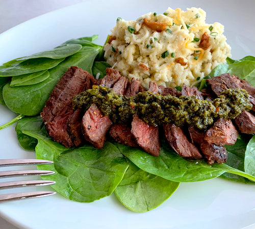 Chimichurri Steak with Loaded Cauliflower Mash