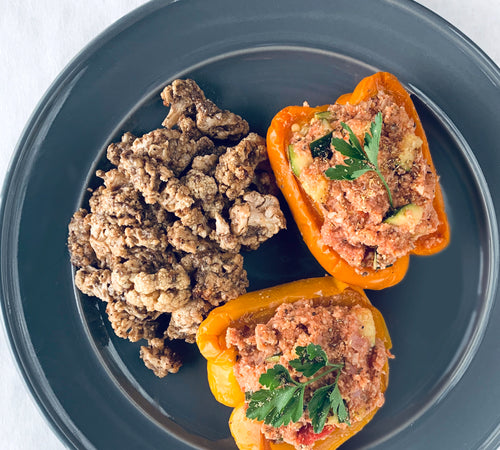 Cauli-Rice Stuffed Peppers with Umami Roasted Cauliflower