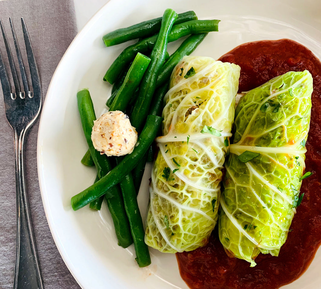 Beef Stuffed Cabbage Rolls with Gremolata Butter Green Beans