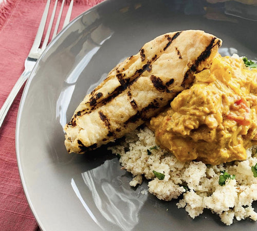 Chicken Curry with Cauliflower Rice & Naan Bread